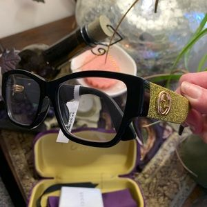 Authentic Gucci 53 Rectang Glitter acetate opt gls